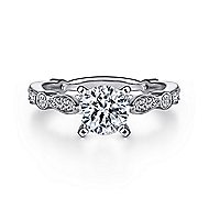 Mabel 14k White Gold Round Straight Engagement Ring angle 1
