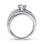 Mackenzie 14k White Gold Round Free Form Engagement Ring angle 2