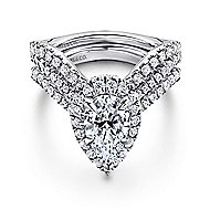 Madeleine 14k White Gold Pear Shape Halo Engagement Ring angle 4