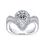 Madeleine 14k White Gold Pear Shape Halo Engagement Ring angle 5