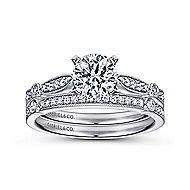 Mae 14k White Gold Round Straight Engagement Ring angle 4