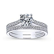 Maelin 14k White Gold Round Straight Engagement Ring angle 4