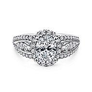 Magnolia 14k White Gold Oval Halo Engagement Ring angle 1