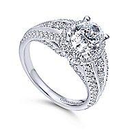 Magnolia 14k White Gold Oval Halo Engagement Ring angle 3