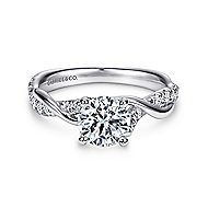Maisie 18k White Gold Round Twisted Engagement Ring angle 1