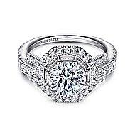 Majid 18k White Gold Round Halo Engagement Ring