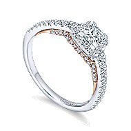 Mallory 14k White And Rose Gold Princess Cut Halo Engagement Ring