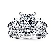 Malva 18k White Gold Princess Cut 3 Stones Engagement Ring