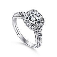 Mamba 18k White Gold Round Halo Engagement Ring