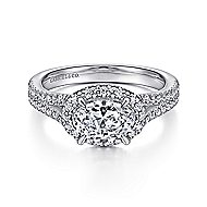 Marbella 14k White Gold Oval Halo Engagement Ring