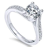 Marcy 14k White Gold Round Bypass Engagement Ring