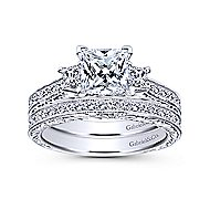 Margaret 14k White Gold Princess Cut 3 Stones Engagement Ring angle 4