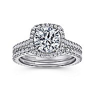 Marie 18k White Gold Round Halo Engagement Ring angle 4