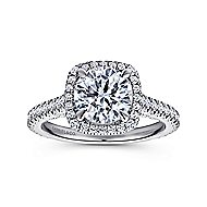 Marie 18k White Gold Round Halo Engagement Ring angle 5