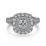 Mariella 14k White Gold Cushion Cut Double Halo Engagement Ring angle 1