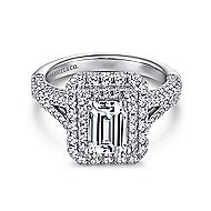 Mariella 14k White Gold Emerald Cut Double Halo Engagement Ring