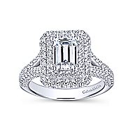 Mariella 14k White Gold Emerald Cut Double Halo Engagement Ring angle 5