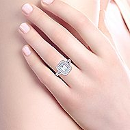 Mariella 14k White Gold Emerald Cut Double Halo Engagement Ring angle 6