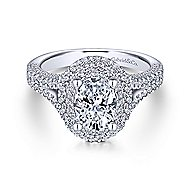 Mariella 14k White Gold Oval Double Halo Engagement Ring angle 1