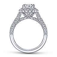 Mariella 14k White Gold Oval Double Halo Engagement Ring angle 2