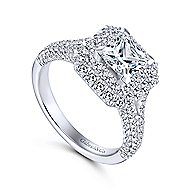 Mariella 14k White Gold Princess Cut Double Halo Engagement Ring angle 3