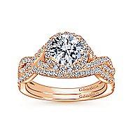 Marissa 14k Rose Gold Round Halo Engagement Ring
