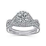 Marissa 14k White Gold Round Halo Engagement Ring angle 4