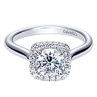 Marjorie 14k White Gold Round Halo Engagement Ring angle 1