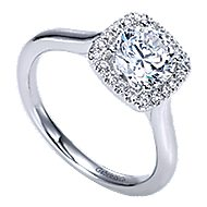 Marjorie 14k White Gold Round Halo Engagement Ring angle 3