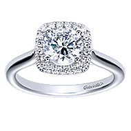Marjorie 14k White Gold Round Halo Engagement Ring angle 5
