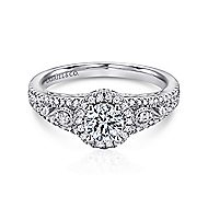 Marlena 14k White Gold Round Halo Engagement Ring