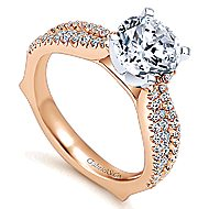 Marley 14k White And Rose Gold Round Straight Engagement Ring angle 3