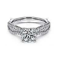 Marley 14k White Gold Round Straight Engagement Ring angle 1