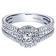 Mars 14k White Gold Round Halo Engagement Ring angle 1