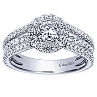 Mars 14k White Gold Round Halo Engagement Ring angle 5