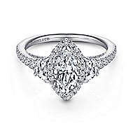 Martina 14k White Gold Marquise  3 Stones Engagement Ring angle 1