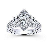 Martina 14k White Gold Marquise  3 Stones Engagement Ring angle 4