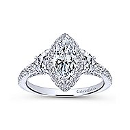 Martina 14k White Gold Marquise  3 Stones Engagement Ring angle 5