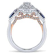 Marty 14k White And Rose Gold Oval 3 Stones Halo Engagement Ring angle 2