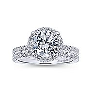 Mary 18k White Gold Round Double Halo Engagement Ring angle 4