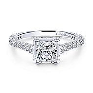 Matilda 14k White Gold Princess Cut Straight Engagement Ring angle 1