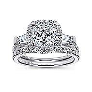 Maude 14k White Gold Cushion Cut Halo Engagement Ring angle 4