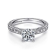 Maura 14k White Gold Round Solitaire Engagement Ring angle 1