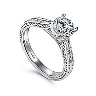 Maura 14k White Gold Round Solitaire Engagement Ring angle 3