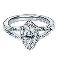 Mavis 14k White Gold Marquise  Halo Engagement Ring angle 1