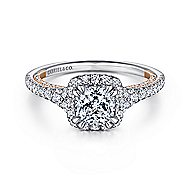 Maxim 18k White And Rose Gold Cushion Cut Halo Engagement Ring