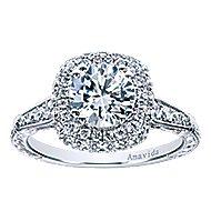 Maze 18k White Gold Round Halo Engagement Ring