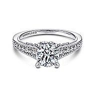 Meriel 18k White Gold Round Straight Engagement Ring angle 1