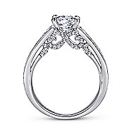 Meriel 18k White Gold Round Straight Engagement Ring angle 2