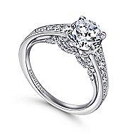 Meriel 18k White Gold Round Straight Engagement Ring angle 3